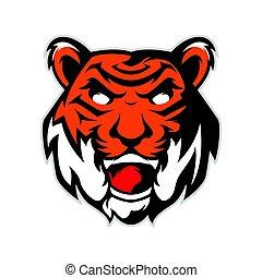 tigre, logo, tête, mascotte