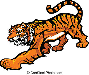 tigre, mascota, cuerpo, vector, gráfico