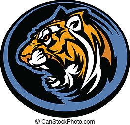 tigre, mascota, gráfico