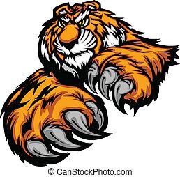 tigre, mascotte, corps, à, pattes, et, cla