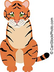 tigre, mignon, amusement, dessin animé, illustration