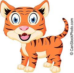 tigre, mignon, dessin animé