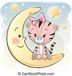 tigre, mignon, dessin animé, lune