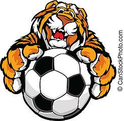 tigre, mignon, mascotte, football, heureux
