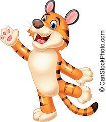 tigre, mignon, onduler, main