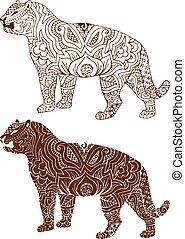 tigre, motifs, indien