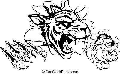 tigre, mur, par, déchirer