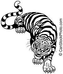 tigre, negro, blanco