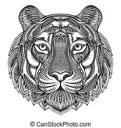 tigre, orné, graphique, main, dessiné