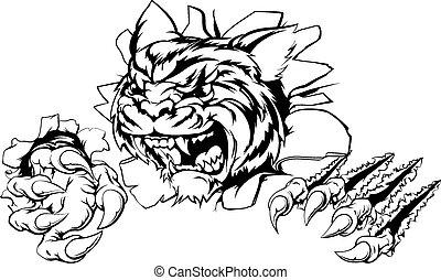 tigre, par, déchirer, fond
