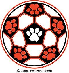 tigre, pelota del fútbol
