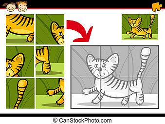 tigre, puzzle, puzzle, jeu, dessin animé