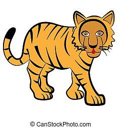 tigre, rayé, grand, blanc, arrière-plan.