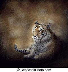 tigre, reposer, bengale