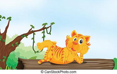 tigre, reposer, bois