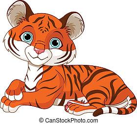 tigre, reposer, peu, petit