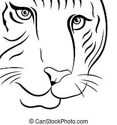 tigre, rigolote, partie, figure