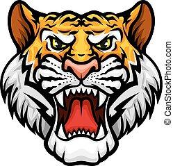 tigre, rugido, cabeza, bozal, vector, mascota, icono