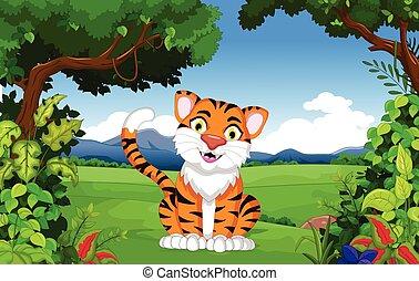 tigre, selva, caricatura
