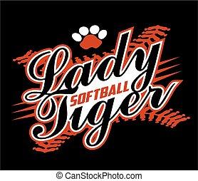 tigre, softball, dame