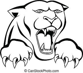 tigre, tatouage, tête