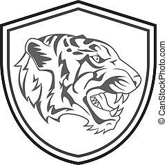 tigre, tatouage, tête, mascotte