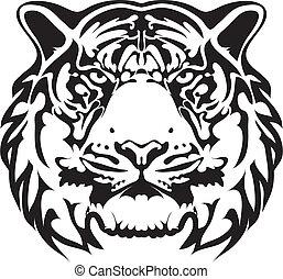 tigre, tatouage, vecteur, -