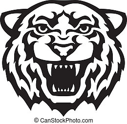 tigre, tatuaje, cabeza