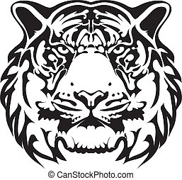 tigre, tatuaje, vector, -