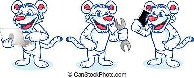 tigre, teléfono, blanco, mascota