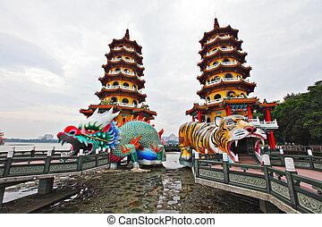 tigre, torre, taiwán, dragón
