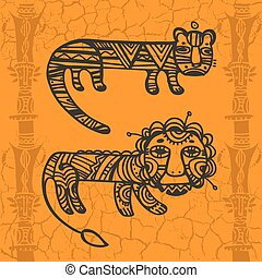 tigre, tribal, dessins, lion