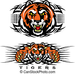 tigre, tribal, diseño