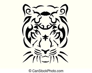 tigre, tribal, illustration