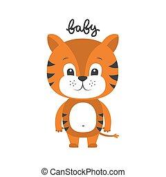 tigre, vecteur, dessin animé, illustration