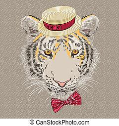 tigre, vecteur, dessin animé, rigolote, hipster
