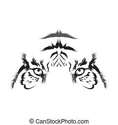 tigre, vector), (head, contorno