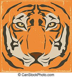 tigre, vendange, grunge, raies, fond