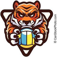 tigre, volley-ball, mascotte