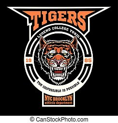 tigres, -, équipe, logo, sport, template., mascotte
