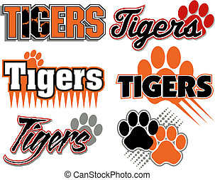 tigres, con, impresión pata, diseños