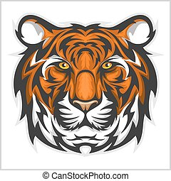 tigres, illustration, tigre, vecteur, head., face.