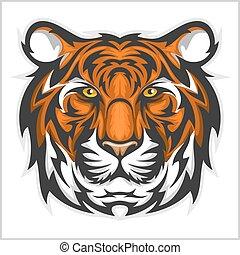 tigres, ilustración, tigre, vector, head., face.