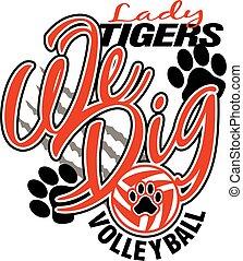 tigres, senhora, voleibol
