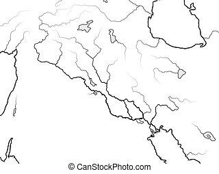 tigris, mapa, y, valley:, gulf., euphrates, chart., medio, ...