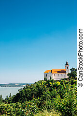 Tihany Abbey Benedictine monastery with Lake Balaton in Hungary