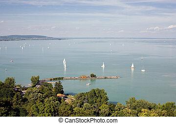 Beautiful view of lake Balaton from Tihany peninsula.
