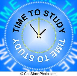 tijd, aan studie, optredens, leren, scholing, en, school