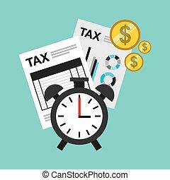 tijd, belasting, betaling, pictogram