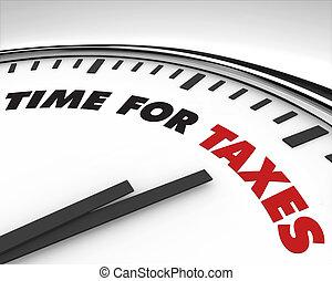 tijd, -, belastingen, klok
